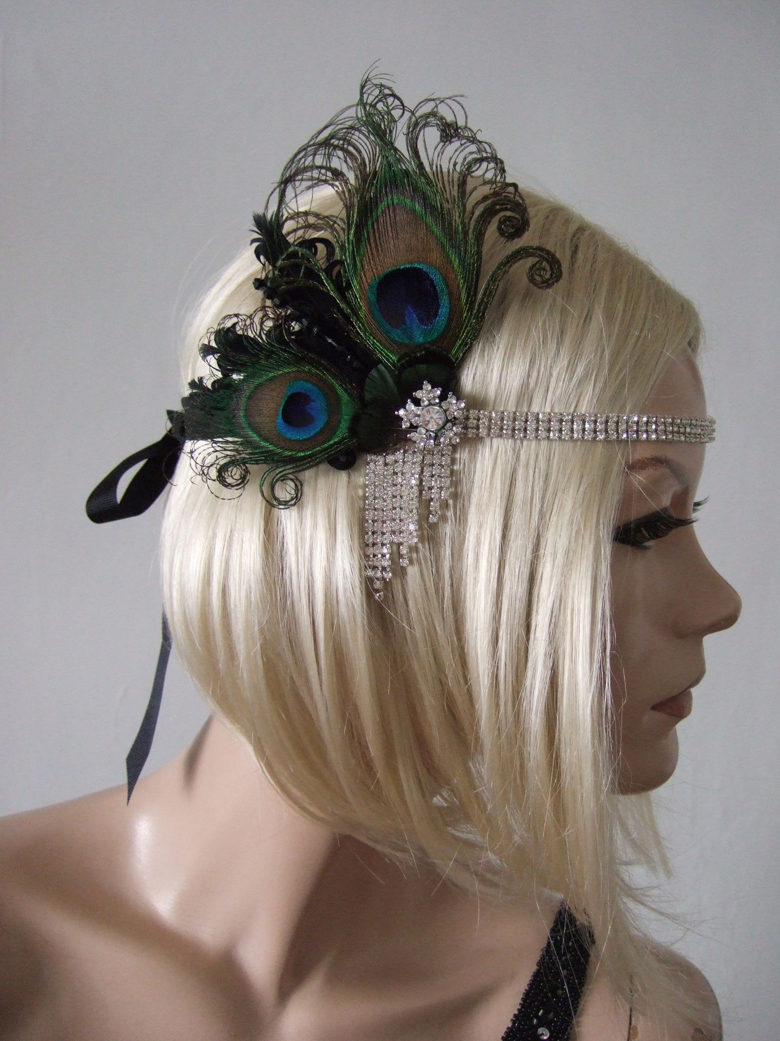 Peacock Feathers And Crystal Flapper 1920s Art Deco